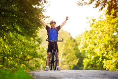 Happy cyclists Stock Photos