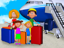 Happy 3d family in airport Royalty Free Stock Photos