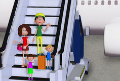 Happy 3d family in airport Stock Photos