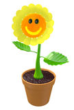 Happy 3D flower with a smiling face growing in a garden pot. 3D render of a cute flower with a big smile in a clay pot royalty free illustration