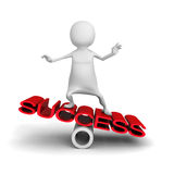 Happy 3d Man Balance On Word Success Royalty Free Stock Photo