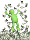 Happy 3d man and a money rain with dollar banknotes Royalty Free Stock Photo