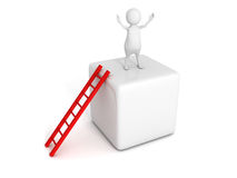 Happy 3d man on top of block with ladder. Success concept 3d render illustration Stock Photo