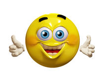 Happy 3d emoticon thumb-up Royalty Free Stock Photo