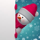 Happy 3d snowman holding white page Royalty Free Stock Photos