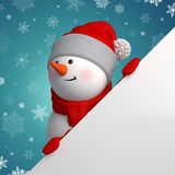 Happy 3d snowman holding white page corner Royalty Free Stock Photography