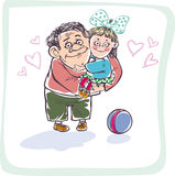 Happy dad. With his little daughter in her arms Stock Photos