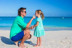 Happy dad and adorable little girl together at the Royalty Free Stock Photography
