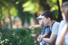Happy dad with baby for a walk Royalty Free Stock Photo