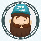 Happy Dad Face with Cap in Button for Father's Day, Vector Illustration. Smiling man with beard and wearing a cap with best dad sign in a round button Royalty Free Stock Image