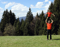 Happy dad father and child acrobatic Royalty Free Stock Photography