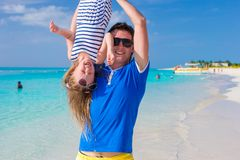 Happy dad have fun with his little cute girl at Stock Photography