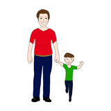 Happy dad holding baby son by the hand. Illustration Stock Photo