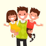 Happy Dad holding his son and daughter. Vector illustration. Of a flat design Royalty Free Stock Photos