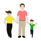 Happy dad holding small and large arm sons. Illustration Royalty Free Stock Image