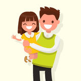Happy Dad keeps daughter in her arms. Vector illustration. Of a flat design Stock Photography