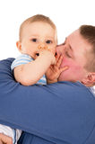 Happy dad kisses baby isolated Royalty Free Stock Images