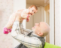 Happy dad with little baby stock photos
