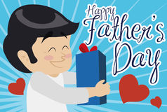 Happy Dad Receiving his Lovely Gift in Father`s Day, Vector Illustration. Poster with happy smiling dad receiving a special gift full of love in Father`s Day vector illustration