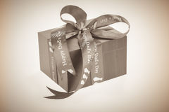Happy Dad's Day with a gift box in sepia tone Stock Photography