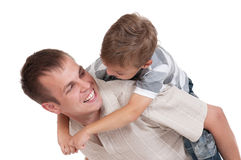 Happy dad and son. Portrait of happy dad and son isolated on white background stock image