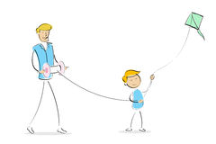 Happy dad and son flying kite together Stock Photo