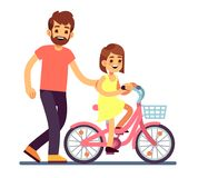 Happy dad teaching daughter cycling bike. Happy family vector concept isolated. Parent and child on bicycle ride illustration Royalty Free Stock Photos