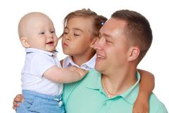 Happy dad with young children. Stock Photo