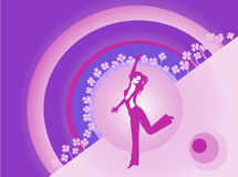 Happy dancer. Purple dancer and four leaves clover illustration Royalty Free Stock Image