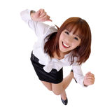 Happy dancing business woman Stock Images