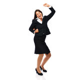 Happy dancing business woman Stock Photos