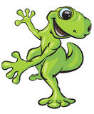 Happy dancing frog. An illustration or cartoon of a happy green frog appearing to dance with delight Royalty Free Stock Photography