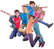 Happy dancing jumping children isolated over white background royalty free stock photos