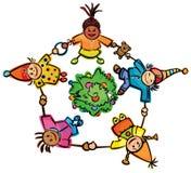 Happy dancing kids around tree! Stock Photo