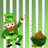 Happy Dancing Leprechaun - Pot of Gold Background Stock Photo