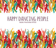 Happy dancing people background frame. Stock Photos