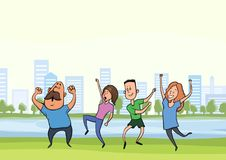 Happy dancing people in city park. Vector illustration. stock illustration