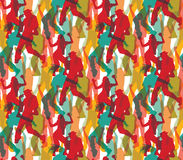 Happy dancing people color seamless pattern. Royalty Free Stock Images