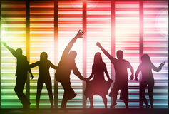 Happy dancing people silhouettes Royalty Free Stock Images