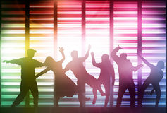 Happy dancing people silhouettes Stock Photos