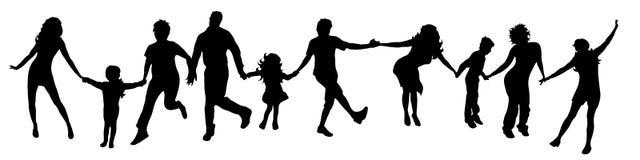 Happy dancing people. Vector illustration silhouettes happy dancing people on white background Royalty Free Stock Photo