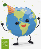 Happy Dancing Planet in Earth Day Celebration, Vector Illustration Stock Image