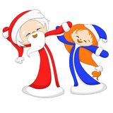 Happy dancing Santa Claus and Snow Maiden stock photo