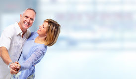 Happy dancing senior couple. Royalty Free Stock Image