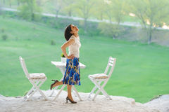 Happy Dancing Woman Royalty Free Stock Photography