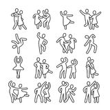 Happy dancing woman and man couple icons. Disco dance lifestyle vector pictograms. Illustration of couple dance, happy dancer person, ballet and salsa, latin Stock Images