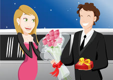 Happy dating. A nice couple in love, the girl is receiving a love declaration and a Valentine gift Stock Photo