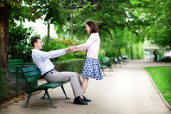 Happy dating couple stock photography