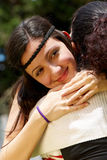 Happy daughter in embraces of a mother Stock Photo