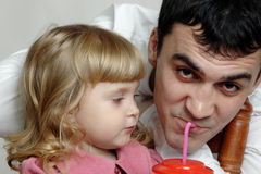 Happy daughter with father. stock image